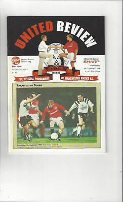 Manchester United v Port Vale Coca Cola Cup 1994/95 Football Programme