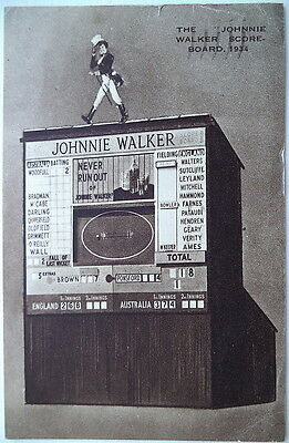 ENG v AUST 1934 TEST JOHNNY WALKER SCOREBOARD POSTCARD