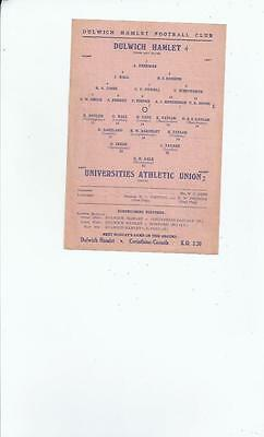Dulwich Hamlet v Universities Athletic Union Football Programmes 1945/46
