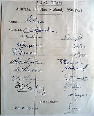 England To Australia & N.z 1950-51 – Cricket Official Autograph Sheet