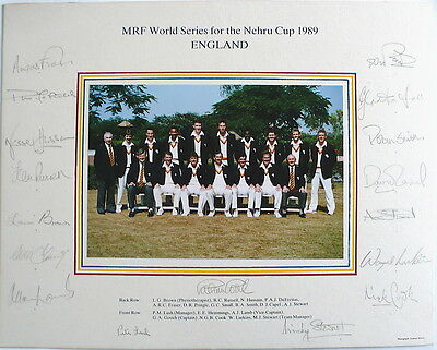 England Squad 1989 Nehru Cup Signed Official Team Photo