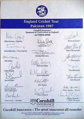 England To Pakistan 1987 – Cricket Official Autograph Sheet