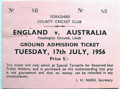 ENGLAND v AUSTRALIA 1956 TICKET – 3rd Test Headingley