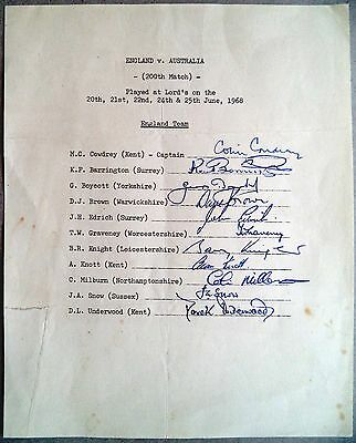 ENGLAND v AUSTRALIA 200th TEST 1968 LORD'S – CRICKET OFFICIAL AUTOGRAPH SHEET