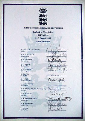 ENGLAND v WEST INDIES 2000, 3rd TEST MATCH – CRICKET OFFICIAL AUTOGRAPH SHEET