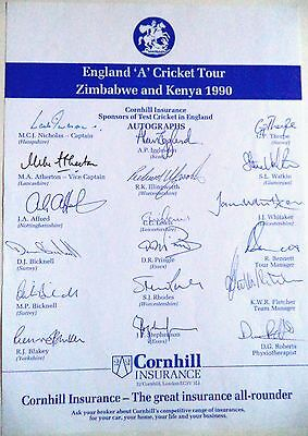 England 'A' To Zimbabwe & Kenya 1990 – Cricket Official Autograph Sheet