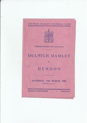 Dulwich Hamlet v Hendon London Senior Cup Football Programme 1947/48