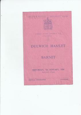 Dulwich Hamlet v Barnet London Amateur Senior Cup Football Programme 1949/50