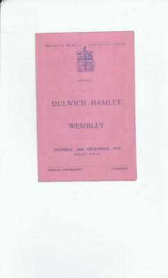 Dulwich Hamlet v Wembley Friendly Football Programme 1949/50