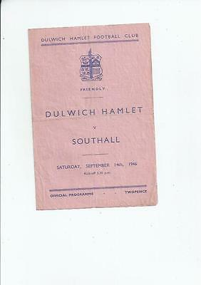 Dulwich Hamlet v Southall Friendly Football Programme 1946/47