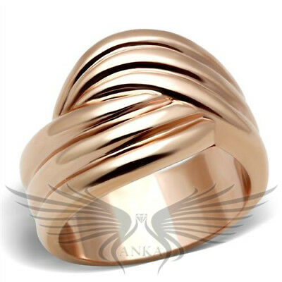 Women's IP Rose Gold Plated Ion Plating Fashion Ring No Stone 5 6 7 8 9 10 GL209