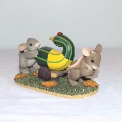 """Charming Tails """"Friends Are A Rich Harvest""""  Mouse Rabbit Fitz & Floyd 85/506"""