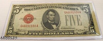1928 C $5 United States Note - Large Red Seal - Circulated Very Fine