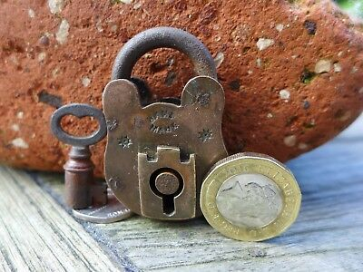 Antique Vintage Small Brass Padlock with one key working order Mark HandMade B