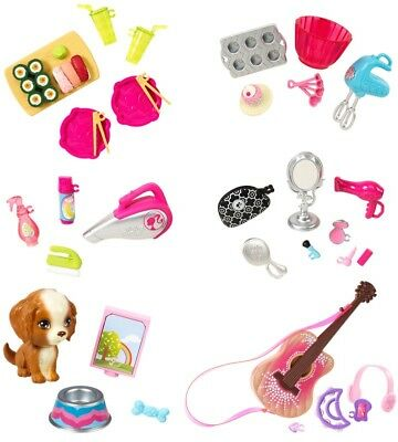 Barbie Accessories Set Make up,Puppy,Sushi,Guitar,Household,Baking