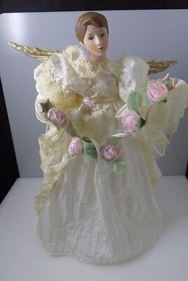 Vintage White Lace Dress ANGEL Porcelain Head Hands Christmas Tree Topper Taiwan