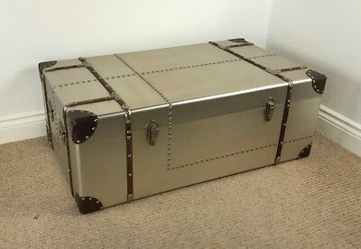 Large Low Aviator Trunk VINTAGE INDUSTRIAL / Retro Aluminium Chest Coffee Table