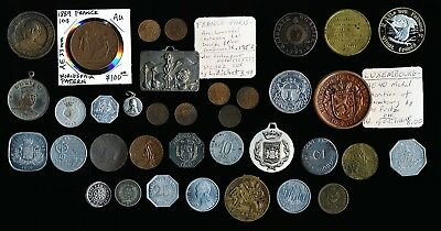 36 Old France & Related Countries Medals Tokens & Coins (Must See) No Reserve