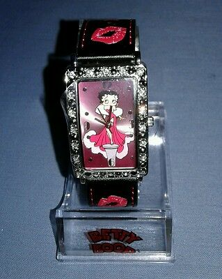 Betty Boop Hearst Watch Black Leather Crystal