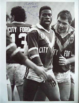 Martin Offiah – 1989 Eastern Suburbs Rugby League Autographed B & W Photograph