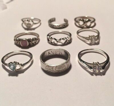 Lot of 9 Sterling Silver Women's Rings, Assorted Sizes