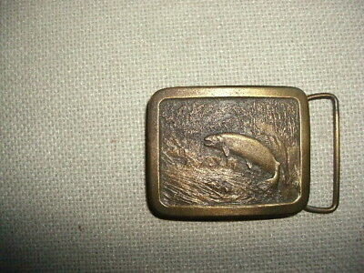 Vintage 1977 Trout Belt Buckle by Indiana Metal Craft, excellent like new cond.