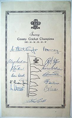 Surrey County Cricket Champions 1952-57 – Official Autograph Card
