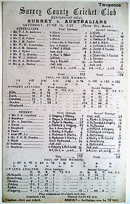 SURREY v AUSTRALIA THE OVAL JUNE 1921 ASHES SERIES TOUR MATCH OFFICIAL SCORECARD