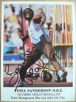 Tessa Sanderson - 1984 Olympic Games Javelin Gold Medal Signed Photograph