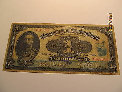 1920 Newfoundland One Dollar Government of Newfoundland REDUCED