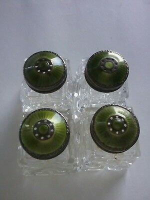 Vintage Norway Cut Glass & Sterling, Guilloche Enamel Topped Salt/Pepper Shakers