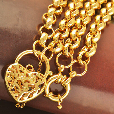 New 18K Gold Belcher Chain Ring Antique Heart Padlock Womens Mens Solid Necklace