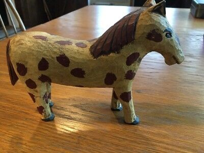 Folk Art Horse Wood Carving by SIGNED D - Bs 71 PA