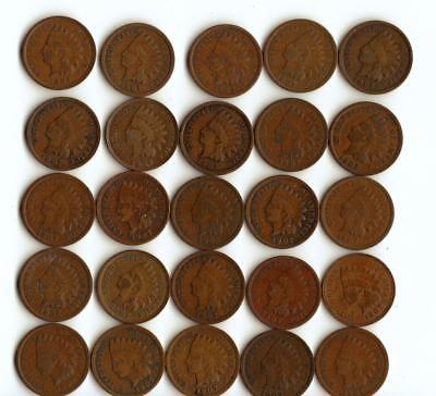 One Half Roll (25) Of Indian Head Cents All 1907