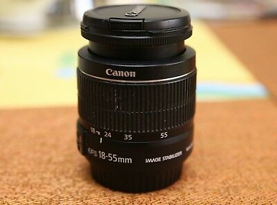 Canon EF-S 18-55mm f/3.5-5.6 IS Lens, both caps, clean. Look