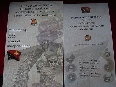 Papua New Guinea. 2010 - 35 Yrs Ind - Deluxe 6 Note Set. 2,5,10,20,50 & 100 Kina