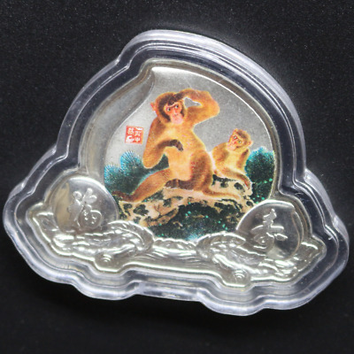 45mm * 35mm Chinese Zodiac Silver Plated Monkey Coin Peach Shape