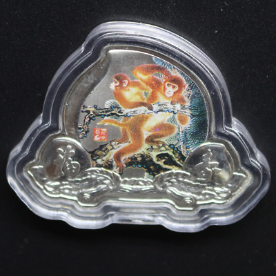 45mm * 35mm Chinese Zodiac Silver Plated Monkey Coin Peach Shape #3