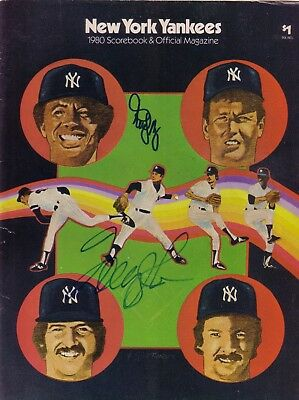 New York Yankees Autographed 1980 Scorebook & Official Magazine Tommy John