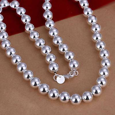 925Sterling Solid Silver Jewelry 10mm Hollow Beads Necklace For Men Women N097
