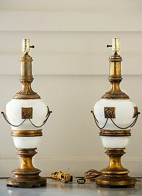 French Antique Cast Bronze Neoclassical Gilt Table Lamps, Gold And White Drama