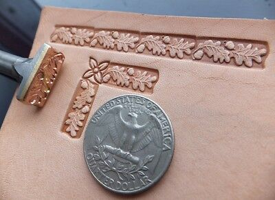 012-11 Oak leaves Leather Stamp Brass Saddlery Tool Punch 3D Brass