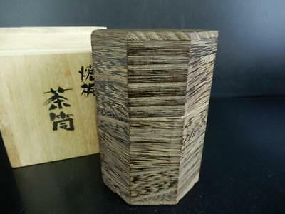 H5530: Japanese Wooden Paulownia Shapely TEA CADDY Chaire Container w/box
