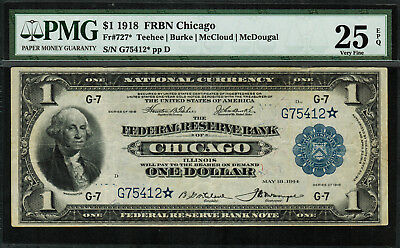 1918 $1 Federal Reserve Bank Note Chicago FR-727* - Star Note - PMG 25 EPQ - VF