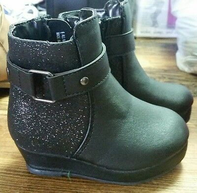 Girls black sparkly ankle boots new cherokee size 6 baby toddler biker shoes