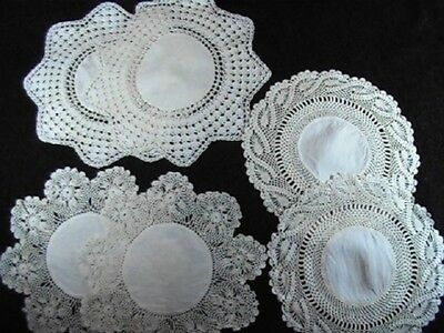 Vintage Antique Handmade Cotton Doilies with Crocheted Lace Edges Lot of 6