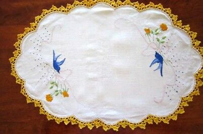 Vintage Bluebird of Happiness Hand Embroidered Doily