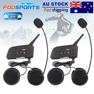 2x 1200M 6 Riders Motorcycle Bluetooth Intercom Interphone Sport Helmet Headsets