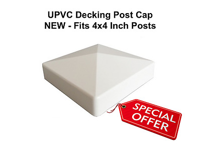 Decking Post Cap - White Caravan decking flat cap