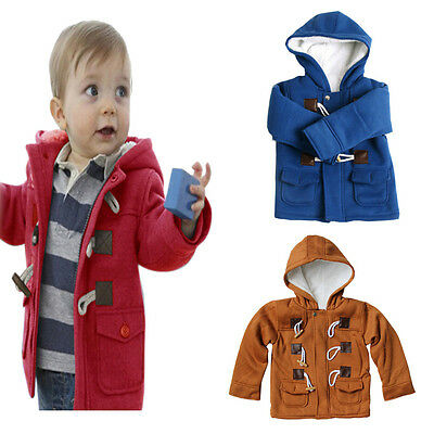 New Baby Boys Toddler Warm Winter Hoodies Coat Snowsuit Jacket Clothes Outerwear